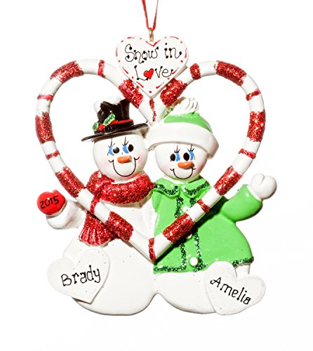 Couple Christmas Holiday Snowmen Candy Cane Ornament-Free Name Personalized-Shipped In One Day
