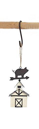 Pig Barn Metal Hanging Christmas Ornament