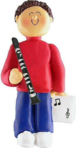Music Treasures Co. Male Musician Clarinet Ornament (Brown Hair)