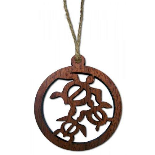 Hawaiian Honus/Turtles Round Wood Laser Cut Christmas Ornament
