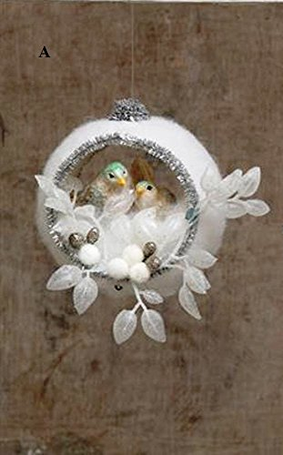 Creative Co-Op Silent Night Collection Round Ornament With Snow Scene, Choice of Style (A)