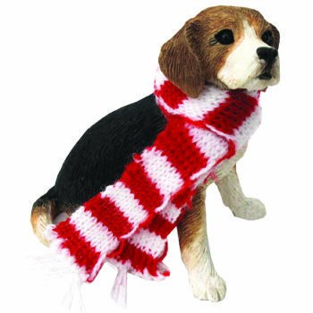 Sandicast Beagle with Scarf Holiday Ornament