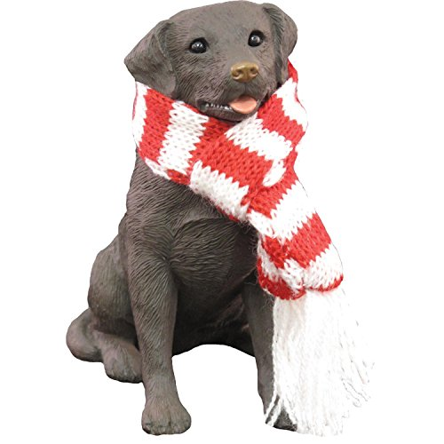 Sandicast Labrador Retriever Chocolate with Red & White Scarf – Christmas Holiday Ornament (XSO13012)