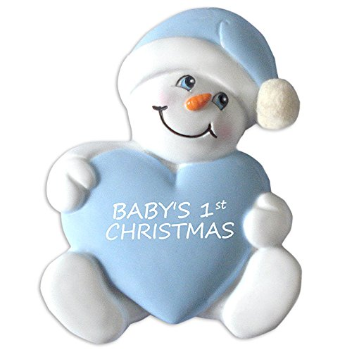 Baby'S First-Snowbaby With Heart-Blue Ornament