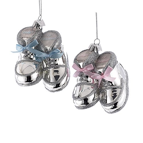 Kurt Adler 3.75″ Noble Gems Silver Baby Shoes Glass Ornament