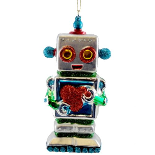 Holiday Ornament HEARTBOT ORNAMENT BLUE Glass Christmas Robot Love TT0193 BLUE
