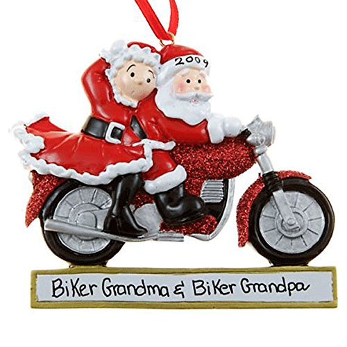 Santa Couple Motorcycle Ornament