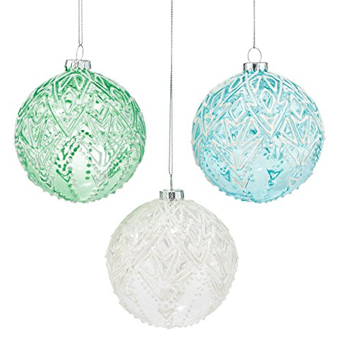 Department 56 Forest Frost Patterned Ball Ornament 3 Assorted Ornaments 4 In