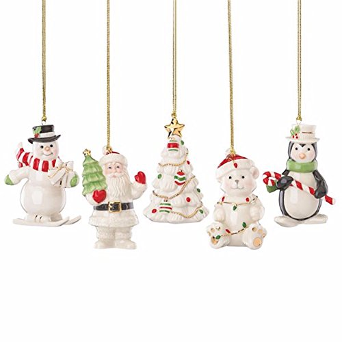 Lenox Very Merry Christmas Ornament Set 5 PC Snowman Penguin Santa Tree Bear