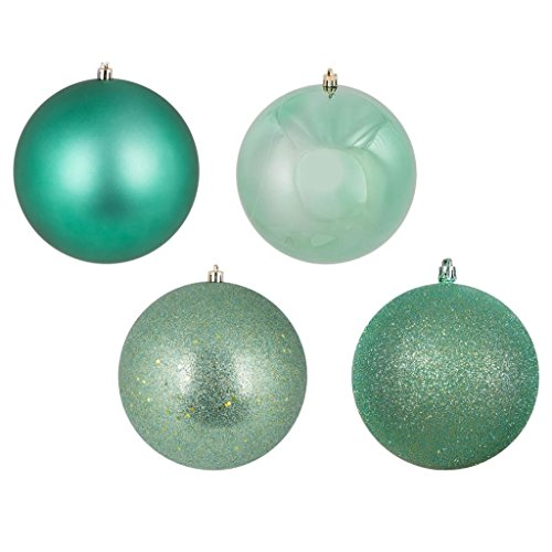 Vickerman 443316 – 1″ Seafoam Green Ball Christmas Tree Ornaments 4 Assorted Finishes Assorted (18 pack) (N590344)