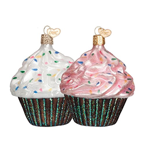 Old World Christmas Assorted Chocolate Cupcake Glass Blown Ornament (Pink or White)