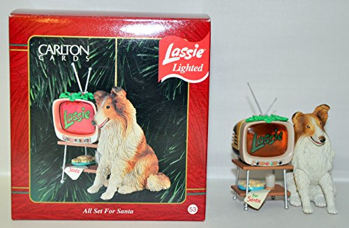 Heirloom Collection – Carlton Cards – Lassie Lighted – All Set for Santa – 1996 Ornament