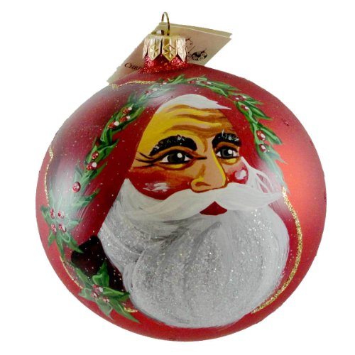 Christina's World BAVARIAN SANTA W/HOLLY Glass Ornament Santa Holly Gif442