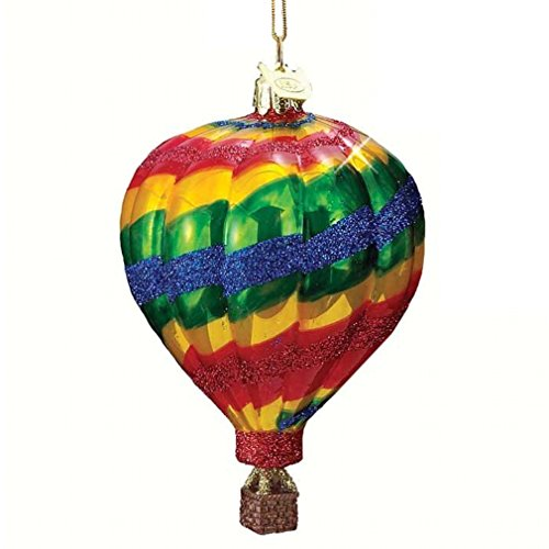 Noble Gems HOT AIR BALLOON ORNMAENT Glass Float Ride Basket Nb0344 Yellow