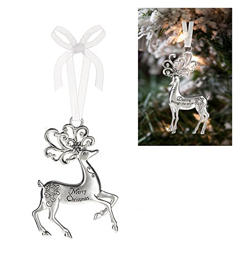Prancing Reindeer Ornament: Merry Christmas – By Ganz