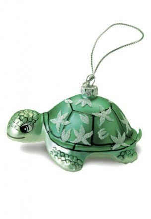 Hawaiian Green Honu Turtle Glass Ornament With Glitters