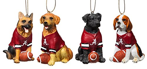 Team Dog Ornaments, 4 Assort., University of Alabama