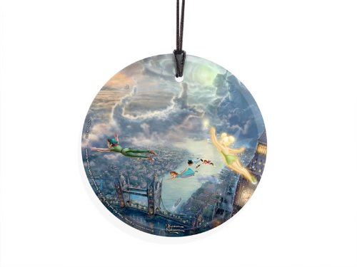 Thomas Kinkade Star Fire Hanging Glass (Ornament) – Tinker Bell and Peter Pan Fly to Neverland