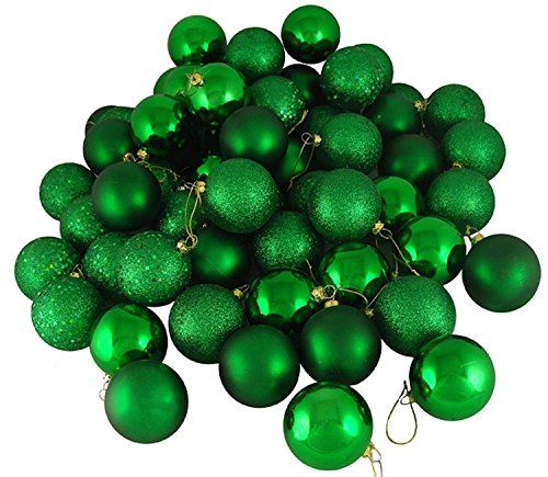 96ct Xmas Green Shatterproof 4-Finish Christmas Ball Ornaments 1.5″ (40mm)