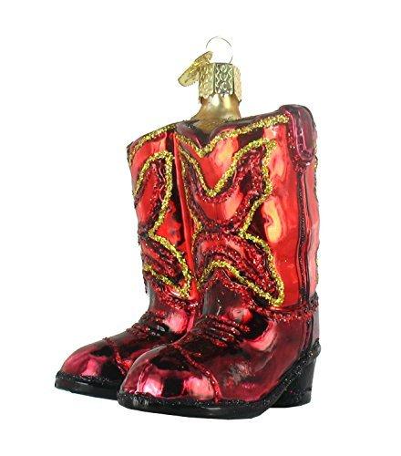 Red Cowboy Boots Ornamento de cristal