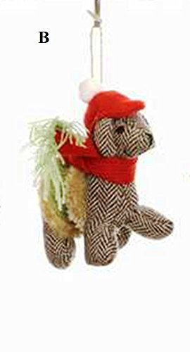 Creative Co-Op Whimsy Collection Fabric Dog Ornament, Choice of Style (B)