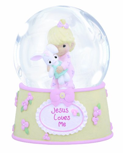 "Precious Moments, Baby Gifts, ""Jesus Loves Me"", Resin/Glass Snow Globe, Girl, Musical, #132102"