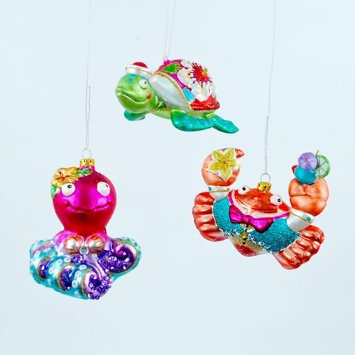 Whimsical Sea Animals Octopus Crab Turtle Christmas Holiday Ornaments Set of 3
