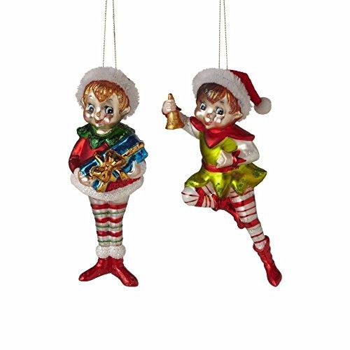 Vintage Retro Glass Pixie Elf Ornaments – Set of 2 Midwest CBK 124559