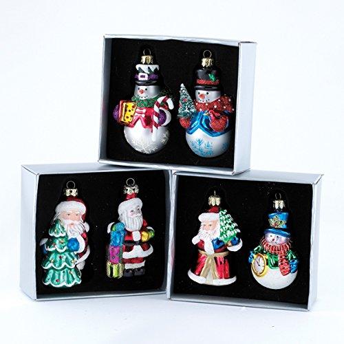 Kurt Adler Glass Santa Snowman Ornaments