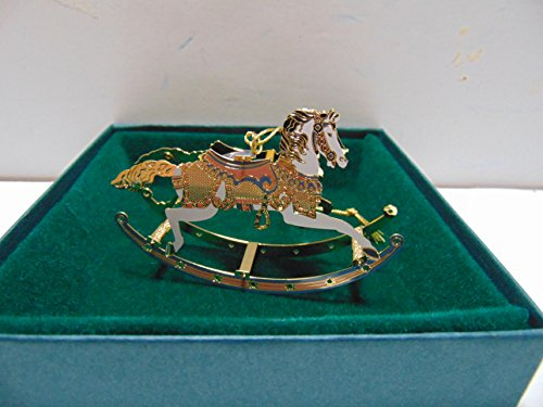 Baldwin ROCKING HORSE Christmas Ornament, Brass with 24k Gold Overlay