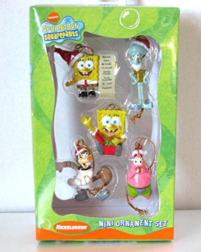 Rare Nickelodeon Kurt Adler 2003 SpongeBob Squarepants 5c Mini Ornament Set