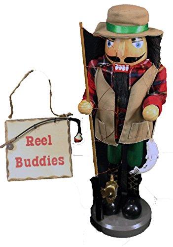 Wooden Fisherman Nutcracker Christmas Gift Set with Bonus Reel Buddies Fishing Ornament In Gift Box
