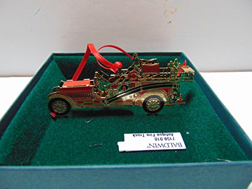 Baldwin ANTIQUE FIRE TRUCK Christmas Ornament, Brass with 24k Gold Overlay