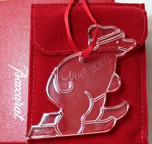 Baccarat Crystal 2003 Skiing Bear Christmas Ornament