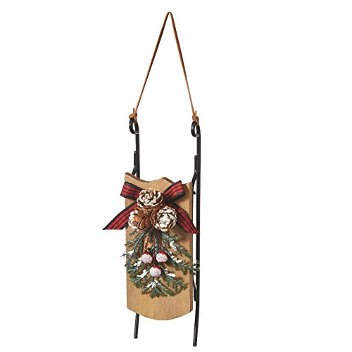 Old Fashioned Winter Sled with Pincecones and Holly Resin Stone Christmas Tree Ornament