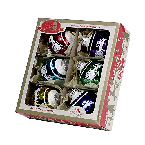 Kurt Adler 60mm Early Years Multicolor Snow Cap and Sleigh Glass Ball Ornaments, 6-Piece Box Set