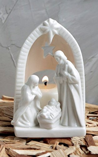 White Ceramic Tealight Holder Holy Family Nativity Figurine – 4 Inch