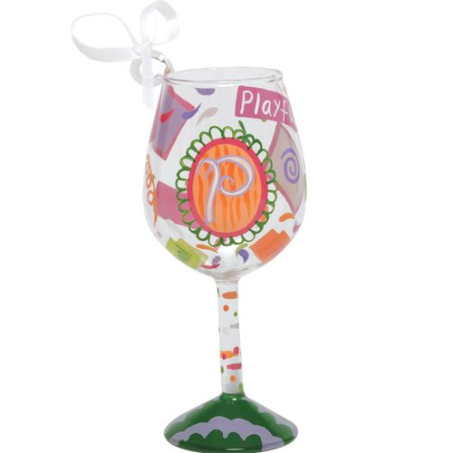 Santa Barbara Design Studio Lolita Holiday Mini-Wine Ornament, Letter P