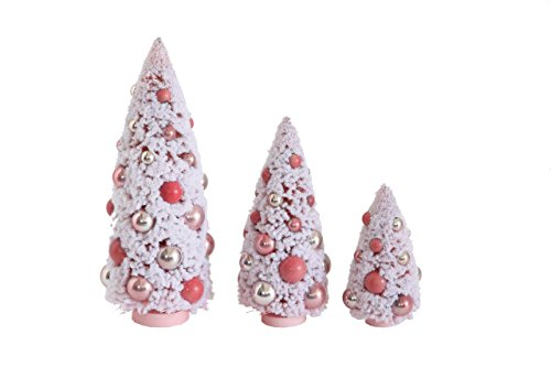 3 Bottle Brush Mantel Christmas Village Trees, Pink Color, 6″-12″ Tall
