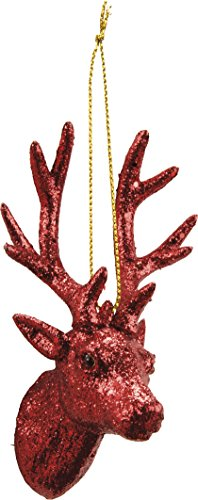 Deer Head Buck Ornament Red Glitter Primitives by Kathy