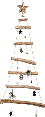Wood Hanging Holiday Christmas Wall Tree with Ornaments