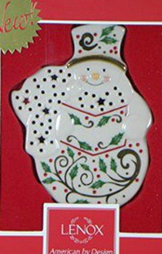 LENOX CHINA ORNAMENTS Joyous tidings pierced snowman