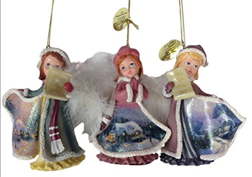 Kinkade Angelic Voices Old World Victorian Angel Caroler Ornaments Set of 3