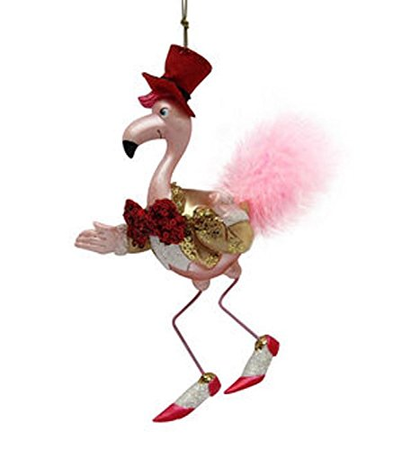 December Diamonds Flamingo with Tux and Red Hat Glass Christmas Ornament 7980516
