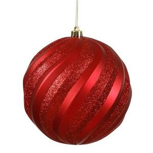 Vickerman 25434 – 6″ Red Matte Glitter Swirl Ball Christmas Tree Ornament (M112003)