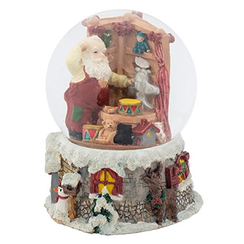 Santa Claus in Toy Shop 100MM Music Water Globe Plays Tune We Wish You A Merry Christmas