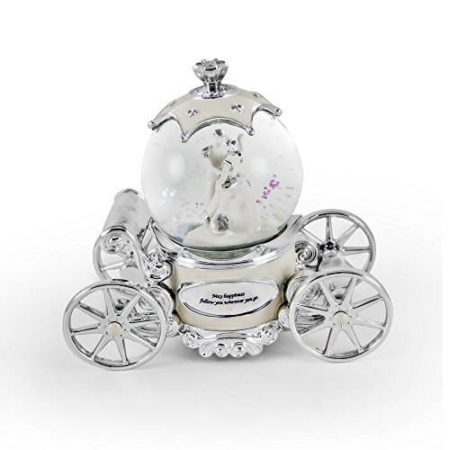 Romantic Pearl White, Ivory And Silver Fairy Tale Snow Globe Carriage with 18 Note Tune-So This Is Love (Cinderella)