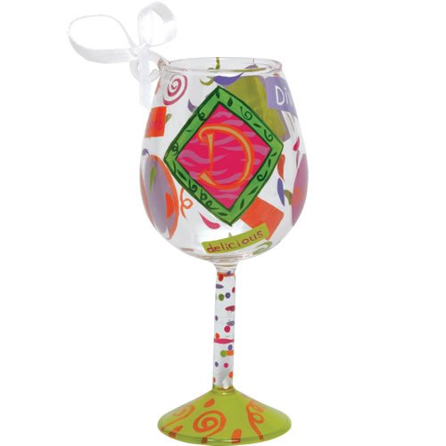 Santa Barbara Design Studio Lolita Holiday Mini-Wine Ornament, Letter D