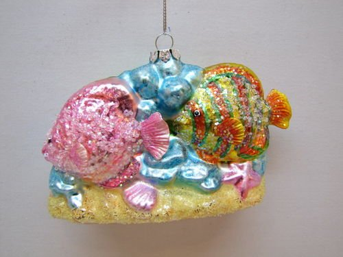 December Diamonds Two Tropical Fish on Coral Blown Glass Hand Painted Ornament-Beautiful!