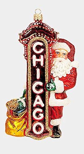 Santa Claus in Chicago Polish Blown Glass Christmas Ornament Decoration